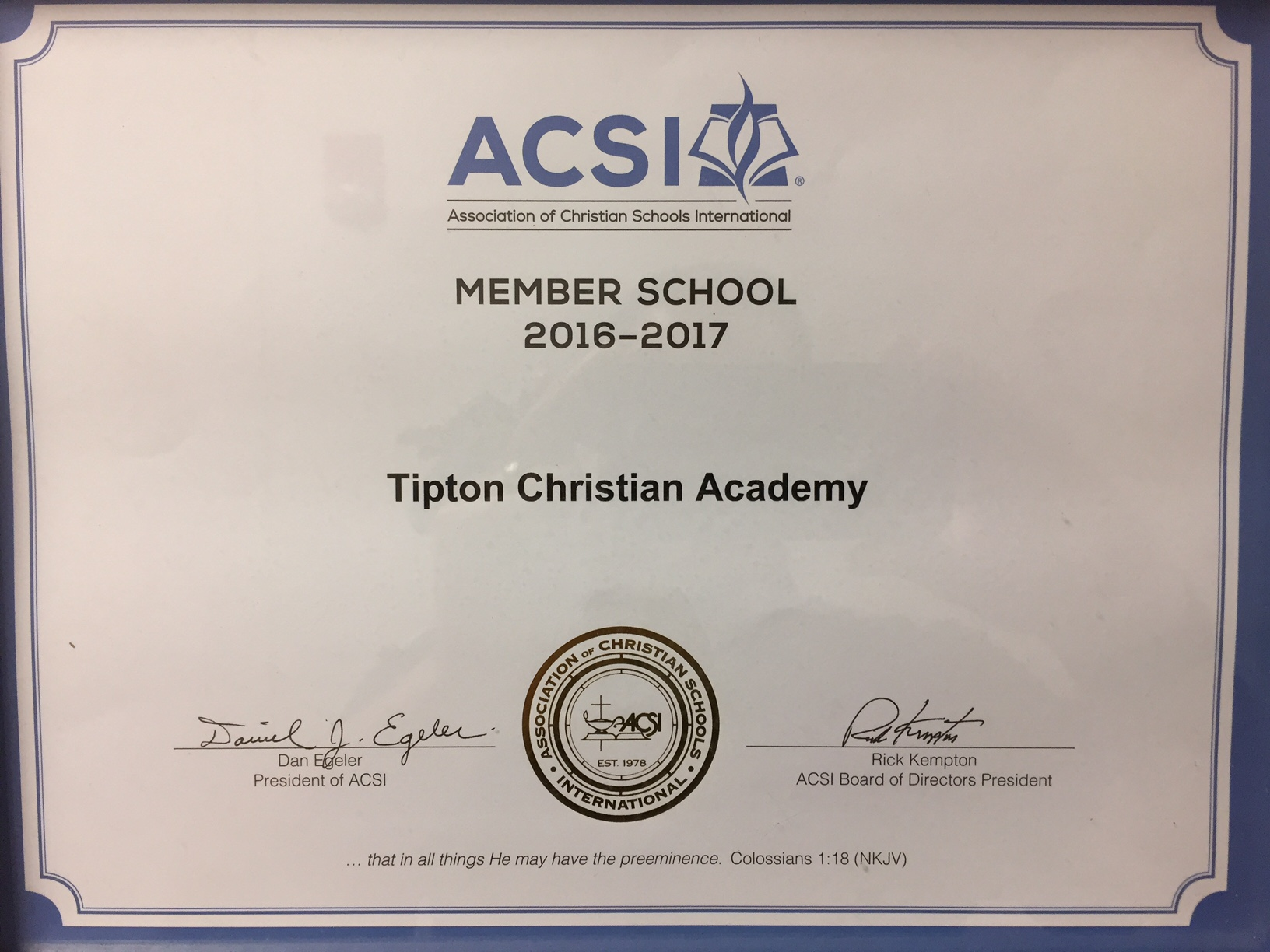 Tipton Christian Academy's Profile & Standards Report